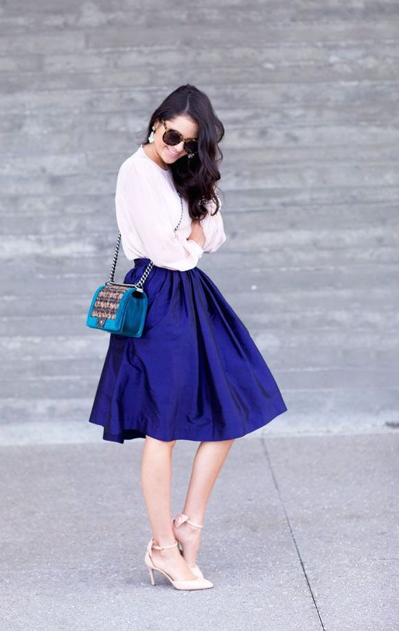 How To Wear A Cobalt Blue Skirt