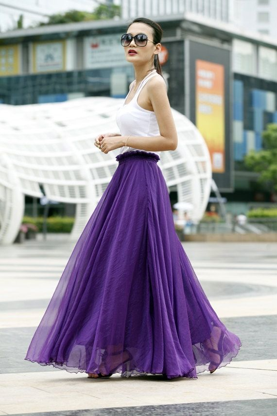 purple chiffon maxi skirt with white tank top