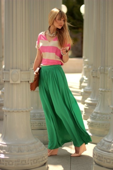 green maxi skirt with pink top