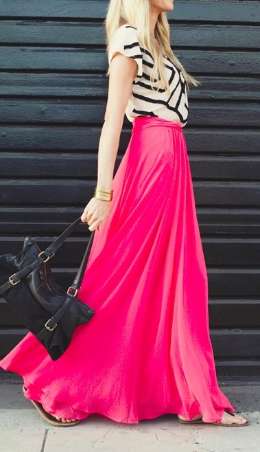 pink chiffon maxi skirt with chevron top
