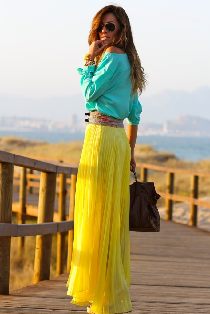yellow maxi skirt with aqua top