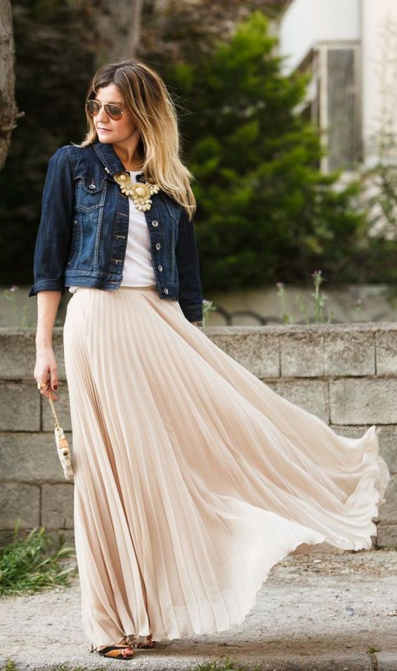 chiffon maxi skirt with denim jacket