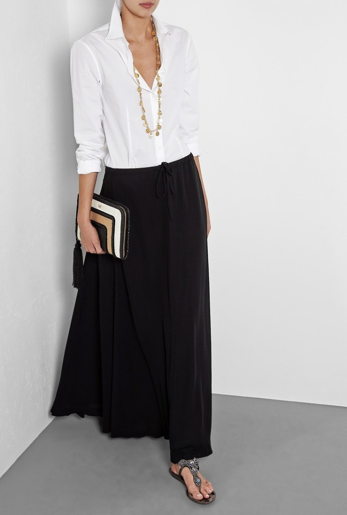 Black Long Chiffon Skirt