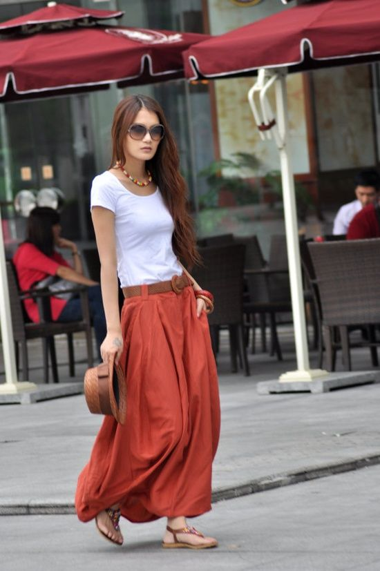 rust red maxi skirt with white top