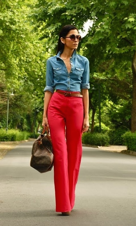 red pants with chambray shirt