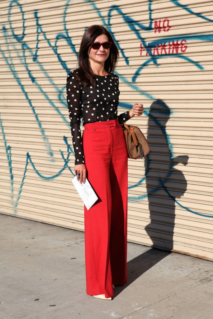 red pants with polka dot top