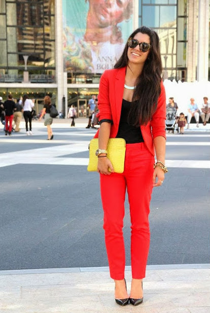 red pants office look