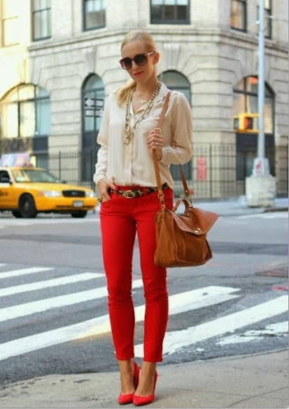 red pants with beige