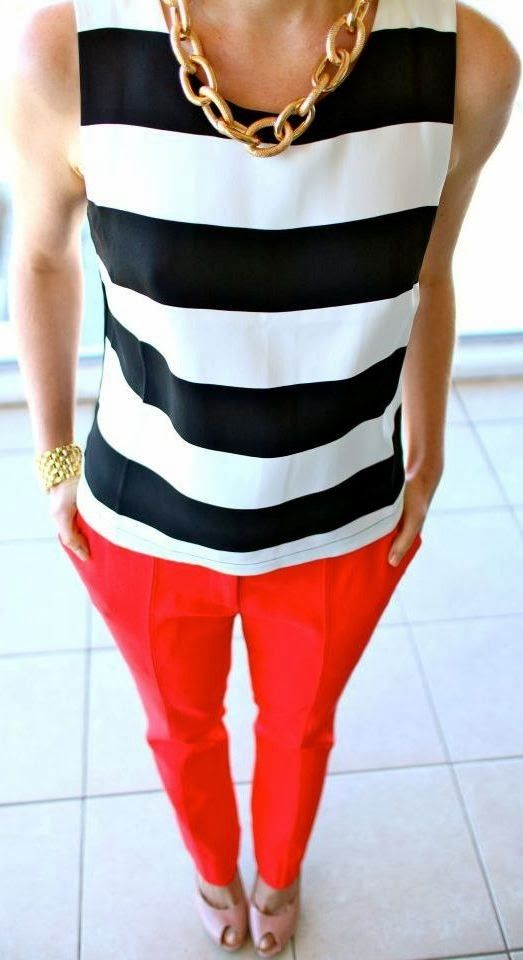 red pants with striped shirt