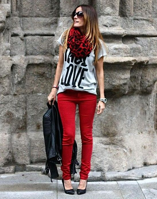 red pants with red scarf